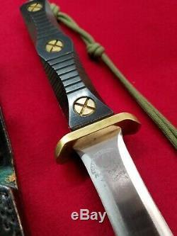 EK KNIVES Commando 6.5 dagger blade knife micarta handle orig leather sheath