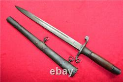 European France Dagger Sword Knife Bayonet Signed Blade Steel Sheath A641
