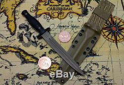 FDE! Spartan George V-14 Dagger Fixed Blade Black Knife Kydex Sheath Near Mint