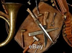 French Hunting Dagger Knife Stag Horn Beautiful Blade 19th Century