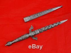 GORGEOUS ANTIQUE DAGGER KNIFE SPAIN TOLEDO FLAMBE BLUED BLADE Spanish Sword 19c