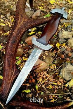 German Ss Dagger Damascus Steel Blade Knife Custom Handmade Rose Wood Handle Arc
