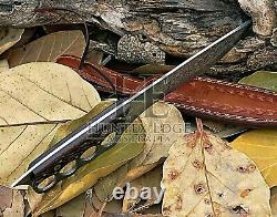 HUNTEX Custom Handmade Damascus Blade, Wenge Wood Handle, 340mm Long Trench Knife