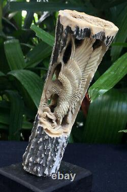 Hand Carved Dragon Antler Shed Carving Blade Dagger Knife Handle Free shipping