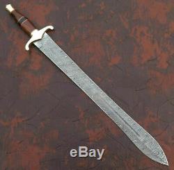 Hand Forged Damascus Blade Mini Sword Dagger Knife Natural Wood Handle