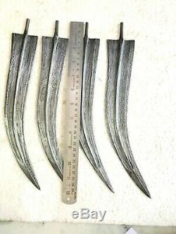 Hand crafted damascus jambia steel knife dagger blades lot of four