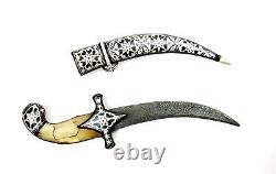 Handcrafted Knife Knives Dagger Damascus Blade Koftgari Silver Inlay Work Gifts