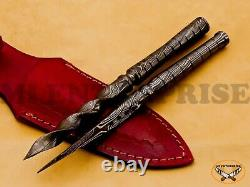 Handmade Damascus Steel Blade Hunting Tri-Dagger Spiral Knife Spike Lot AN235