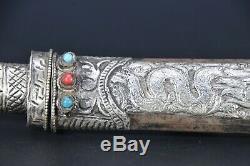 Handmade Tibetan Knife carved Tibet Asthamangala Blade Dagger silver sword Nepal
