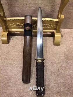 High Quality Jian Dagger Hunting Knife Short Sword Sharp Damascus Steel Blade