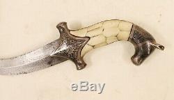 Indo Persian Dagger Damascus Blade Vintage Knife Koftgari Bone Silver Inlay Work