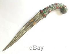 Jade Zircon stone Jewel Horse Face Handle Dagger Knife Damascus steel blade