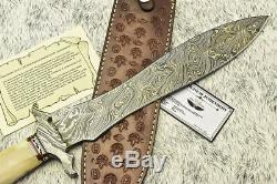 L. Raymond Studio HAND FORGED DAMASCUS STEEL BLADE DAGGER KNIFE SCRIMSHAW