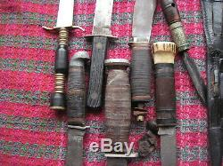Lot Antique Fixed Blade Knives Project Fighting Dagger Hunting Marbles