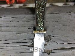 Lou Hegedus custom garter knife/ prostitute dagger Damascus blade abalone handl