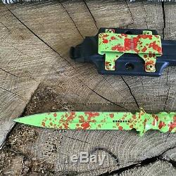 Microtech 115-1Z Zombie Green Spear Point ADO Fixed Dagger Blade A. D. O. Knife