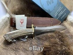 Muela Large Podenquero Knife Stag Handles With Dagger Blade & Leather Sheath GV