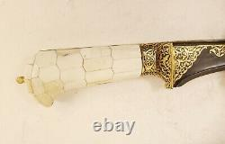 Mughal Dagger Damascus Blade Knife Koftgari Silver Gold Vintage Hand Crafted