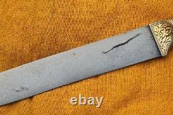Mughal Islamic gold damascened wootz blade rock crystal handle kard dagger knife