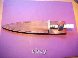 New Custom Dagger Knife Damascus Blade Carved Genuine MOP Mother of Pearl Handle
