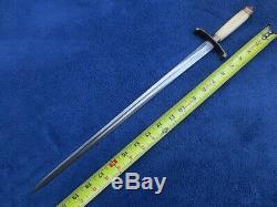 Original Antique Us Or European Naval Dagger Knife Stiletto With Damascus Blade
