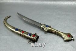 Pair Silver plated Dagger North Africa Blade handle sheath morocco Koummya knife