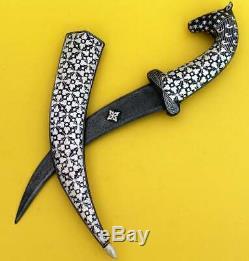 Persian Dagger Knife Antique Ottoman Islamic Silver Inlaid Damascus Steel Blade
