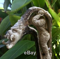 Predator Alien Skull Carved Knife Handle Deer Antler Carving Blade Dagger