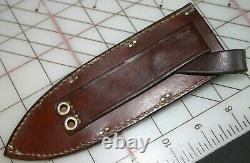 RARE VINTAGE DICKSON KNIVES DAMASCUS FIXED BLADE KNIFE with BROWN LEATHER SHEATH