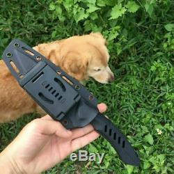 RIKE F1 CPM-D2 5 Fixed Blade G10 Black Handle Straight Dagger Knife with Sheath