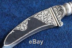 Rajput Sikh Pesh Kabz Dagger Knife Carbon Steel Blunt Blade Silver Gold Work