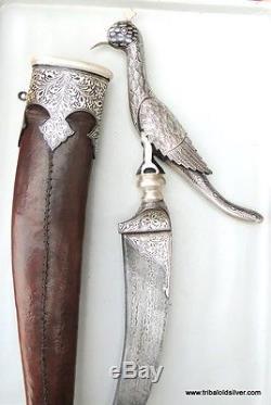Rare! Damascus Steel Blade Knife Silver Bidaree Work In