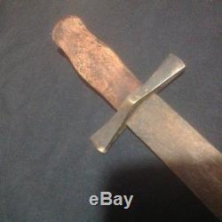 Rare Old War Relic Era Primitive Blade TRADE Knife Brass Guard Reenactor Dagger