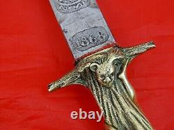 STUNNING ANTIQUE FIGURAL ROMANTIC DAGGER KNIFE SPAIN TOLEDO 1868 sword blade