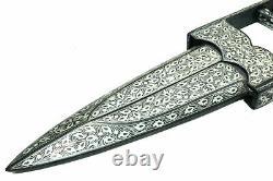 Scissor Dagger Tiger knife Silver Wire work Handmade damascus Steel Blade 13.7
