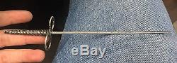 Small Antique Silver Needle Dagger 5.5 Blade Knife Sharp Miniature Sword