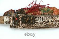 Tibet Mahakala Old Blade Knife Handmade Tibetan carved Dagger silver sword Nepal