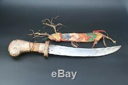 Tibetan Knife carved Handmade Blade Dagger silver sword handmade Old Tibet Nepal