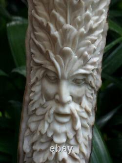 Tree Spirit Ghost Mountain Men Knife Handle Deer Antler Carving Blade Dagger