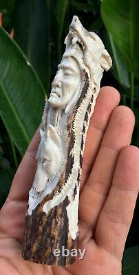 Tribal Chief Indian Chief Knife Handle Antler Carving Blade Dagger Wolves