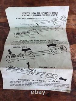 UNIQUE CHINESE PRC POLICE DAGGER RETRACTABLE BLADE With instructions KNIFE