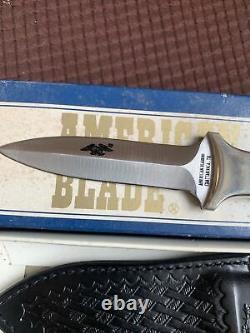 VINTAGE Buffalo Horn American Blade BOOT KNIFE AB-28 Dagger Leather Sheath Box