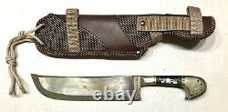 Vintage 1980 Uzbekistan Jeweled Pechak Gold Etched Blade Dagger Knife WithSheath