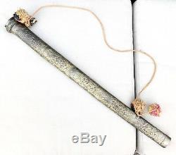 Vintage Antique Indo/Persian Large Sword Dagger Knife Etched Blade WithScabbard