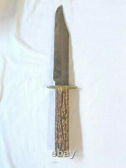 Vintage John Newton & Co Sheffield Bowie Hunting Dagger Knife Blade with stag