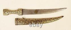 Vintage Knife Dagger Mughal Indo Persian Damascus Blade Gold Koftgari Inlay Hand