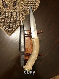 Vintage fixed blade knife. Crown Stag antler, Korium Solingen Dagger And Sheath