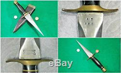 Vtg Sheath Hunt Blade 1960's USA Bone Ralph Dagger Dirk Knife GORGEOUS fold case