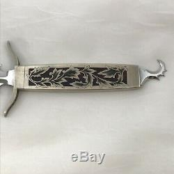 Vtg Tim Herman Fixed Blade Knife Dagger Fabulous Engraving Rosewood Sheath OOAK