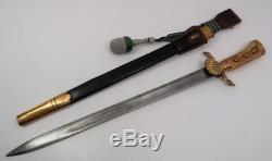 WW1 German hunting cutlass stag handle sword blade dagger bayonet knife & sheath